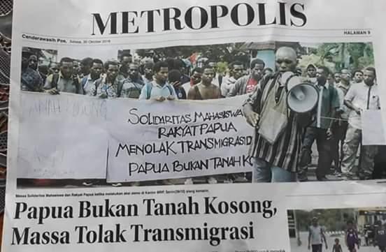 Solidaritas Mahasiswa Rakyat Papua   Menolak Transmigrasi Papua Bukan Tanah Kosong !